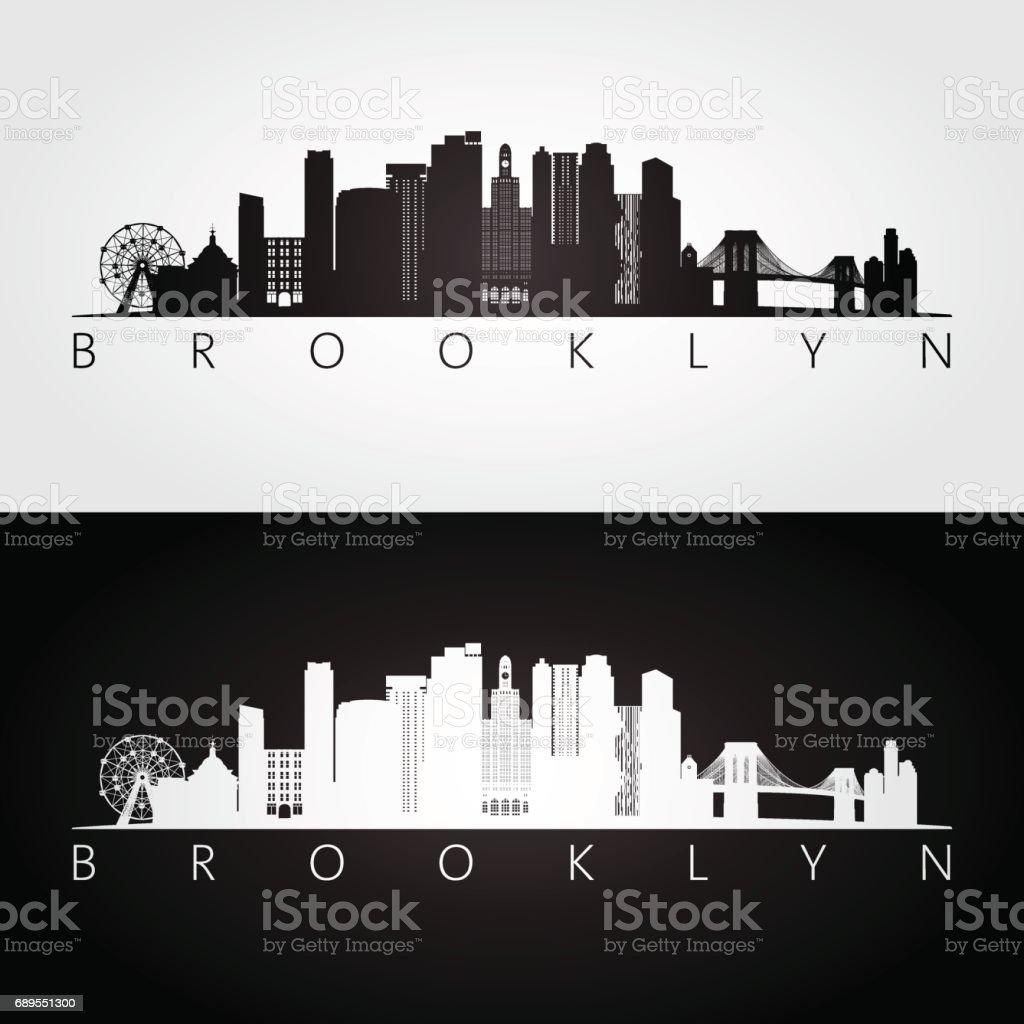 Brooklyn, New York city, USA skyline and landmarks silhouette, black and white design, vector illustration. vector art illustration