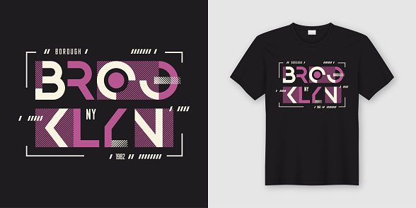 Brooklyn New York geometric abstract style t-shirt and apparel design, typography, print, vector illustration