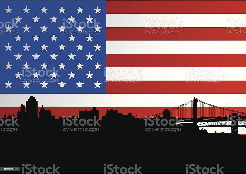 Brooklyn Skyline + American Flag royalty-free stock vector art