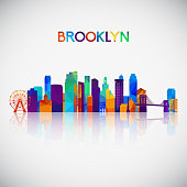 Brooklyn skyline silhouette in colorful geometric style. Symbol for your design. Vector illustration.