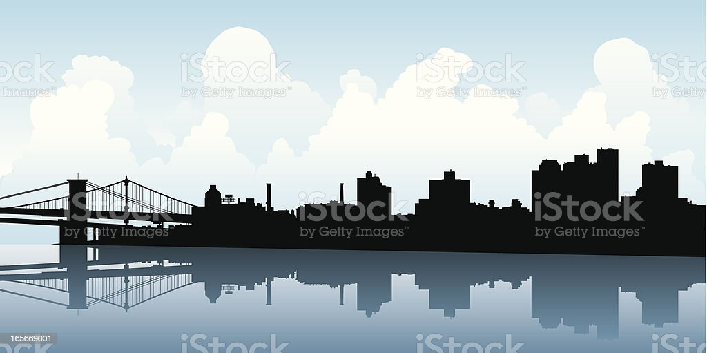 Brooklyn Skyline Silhouette vector art illustration