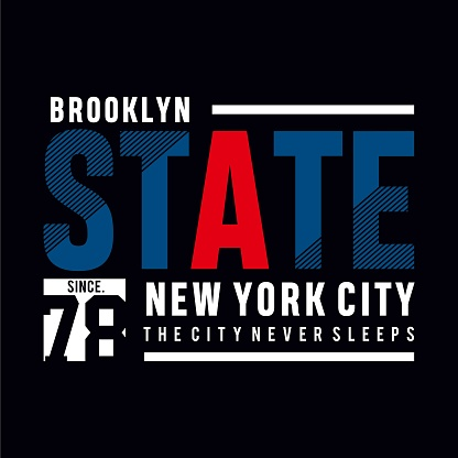brooklyn state tee element,vintage graphic t shirt print vector illustration