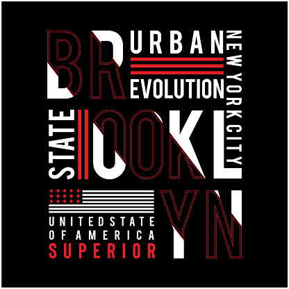 brooklyn state typography design tee t-shirt, vector illustration
