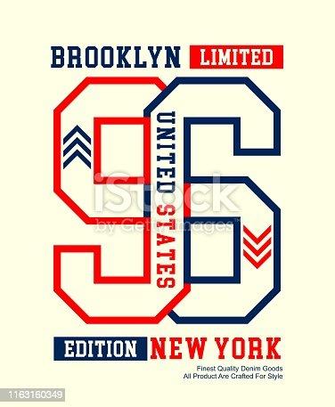 Urban Denim typography slogan, USA style, for tee shirt graphics, vectors