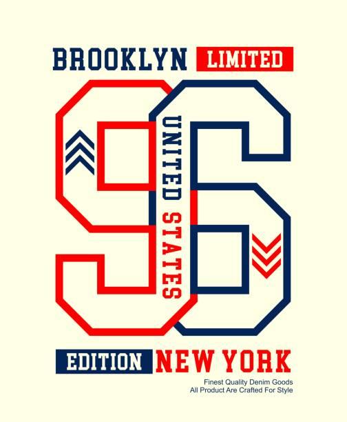 nyc brooklyn, urban denim typografie slogan, für t-shirt, vektoren - posterstile stock-grafiken, -clipart, -cartoons und -symbole