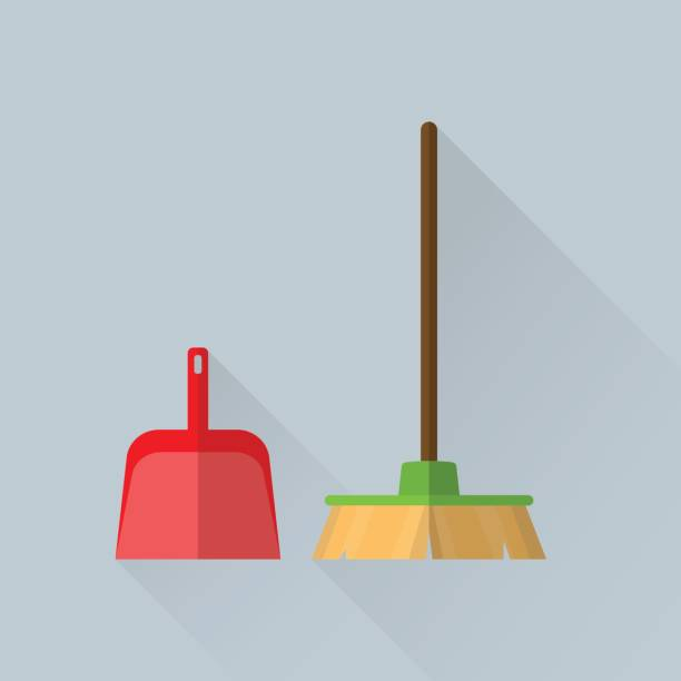 Broom and a scoop vector art illustration