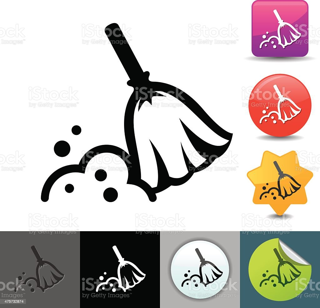 Broom and dust icon | solicosi series vector art illustration