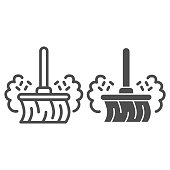 Broom and dust line and solid icon, Allergy concept, Dust allergy sign on white background, broom in dust clouds icon in outline style for mobile concept and web design. Vector graphics