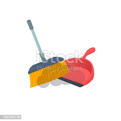 istock Broom and dustpan. Cleaning 1302056730