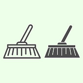 Broom line and solid icon. House cleaning brush domestic equipment symbol, outline style pictogram on white background. Housework or home tools vector sign for web and mobile concept