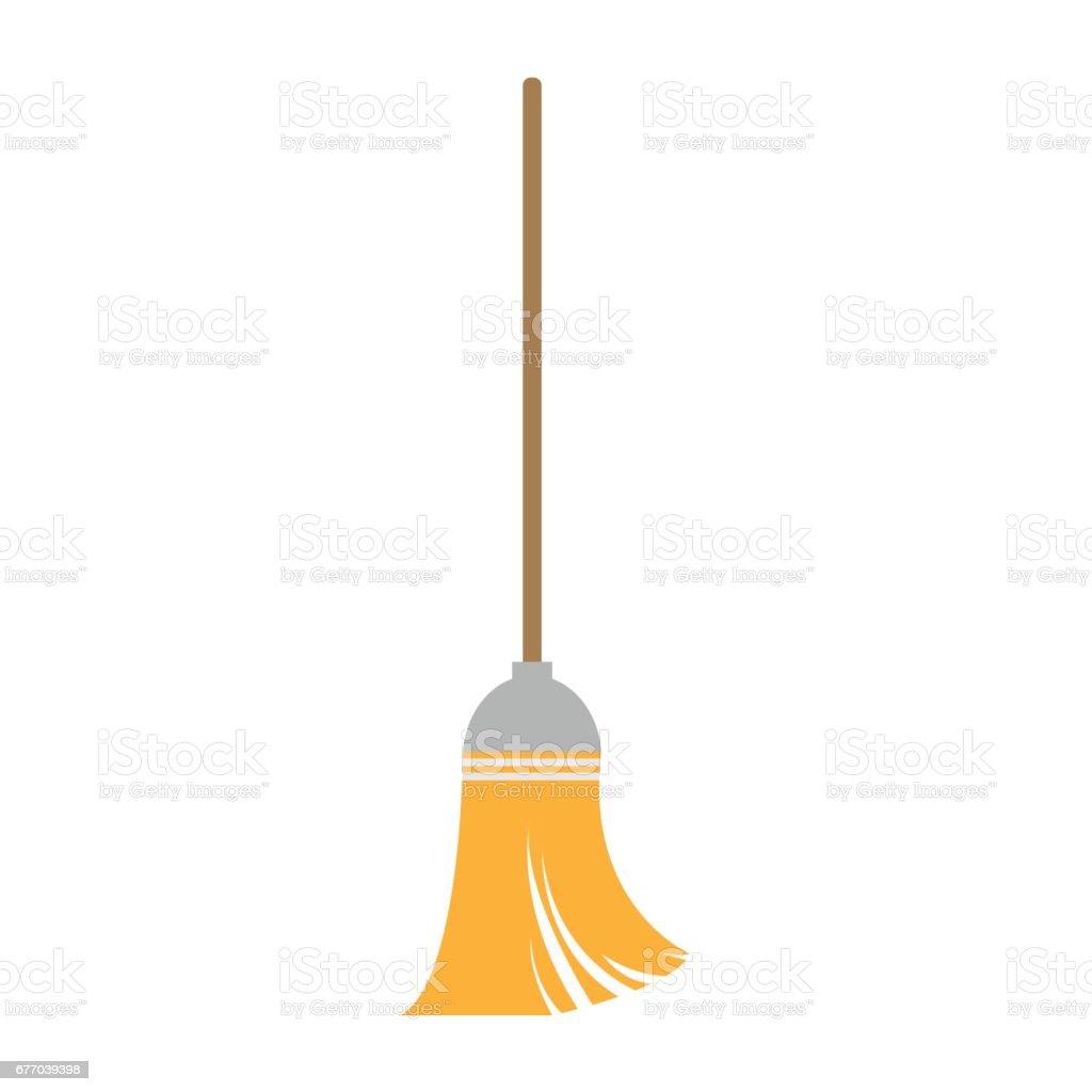 broom on white background , vector vector art illustration