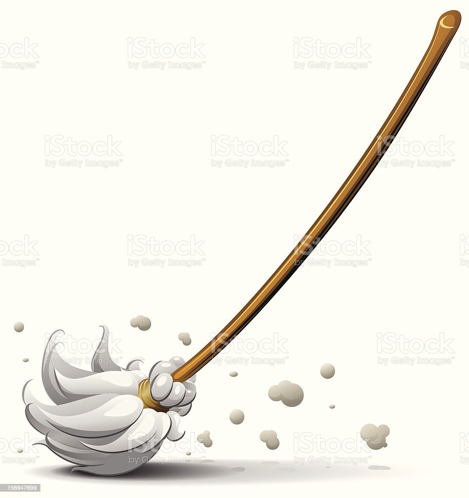 broom sweep floor vector art illustration