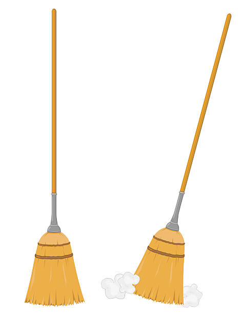 Broom sweeping and dusting vector art illustration