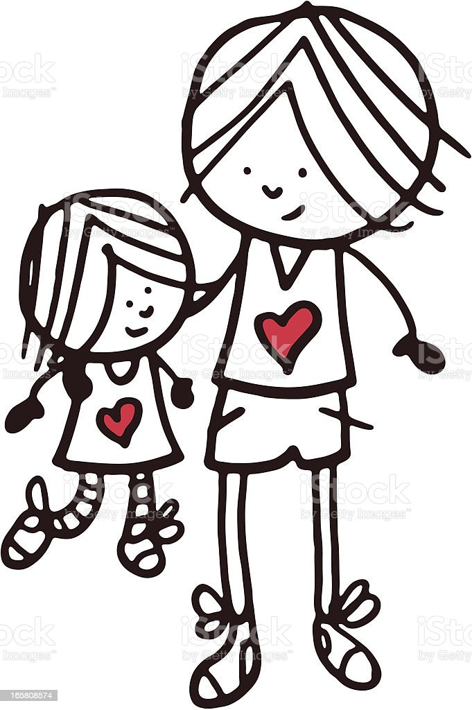 Brother and sister doodle sketch with red heart shape vector art illustration