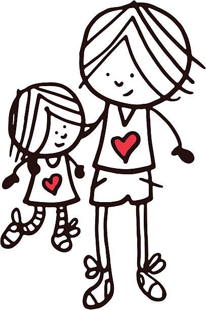 ilustrações, clipart, desenhos animados e ícones de irmão e irmã doodle desenho em forma de coração vermelho - irmã