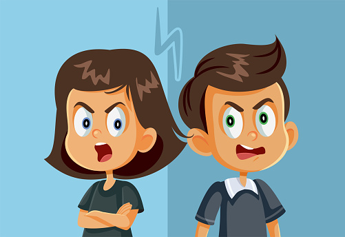 Brother and Sister Fighting Vector Illustration