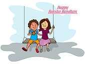 Cute little brother and sister hugging each other and swinging while celebrating Indian festival, Raksha Bandhan.