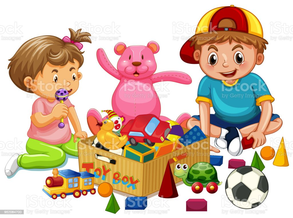 Brother And Sister Playing Toys Stock Vector Art More Images Of