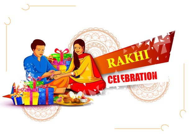 Brother and sister tying decorated Rakhi for Indian festival Raksha Bandhan vector illustration of Brother and sister tying decorated Rakhi for Indian festival Raksha Bandhan indian family stock illustrations