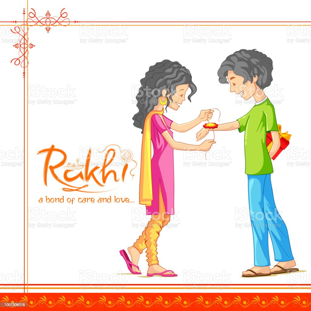 Brother And Sister Tying Rakhi On Raksha Bandhan Indian