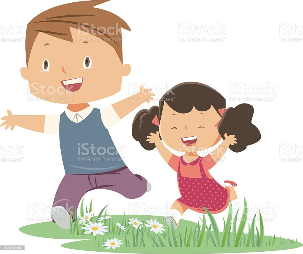 brother and sister vector art illustration