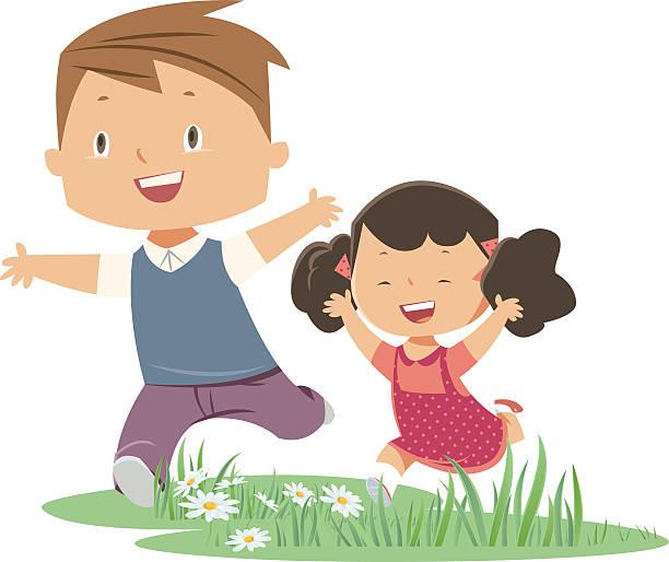 ilustraciones, imágenes clip art, dibujos animados e iconos de stock de hermano y hermana - hermano