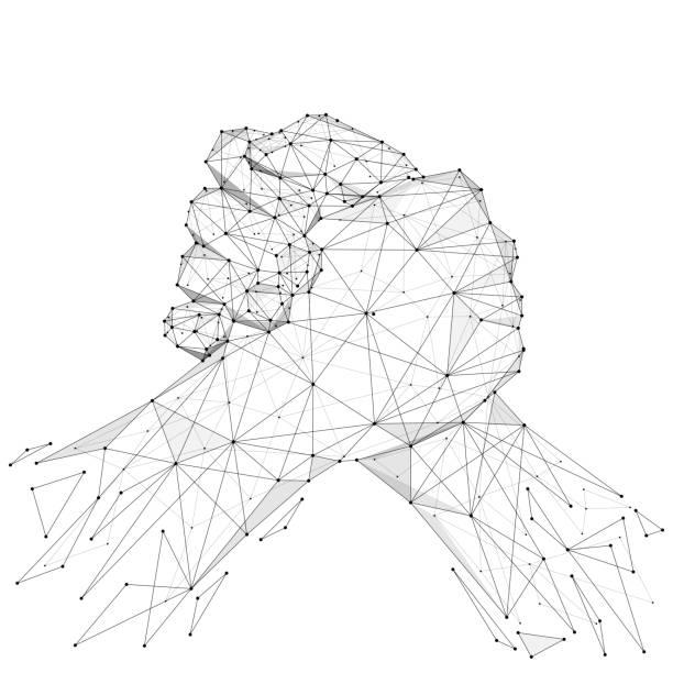 brüderlicher händedruck low-Poly-schwarz auf weiß – Vektorgrafik