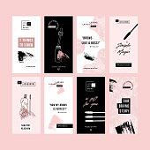 Brow bar design templates. Social media vertical designs. Beauty branding.