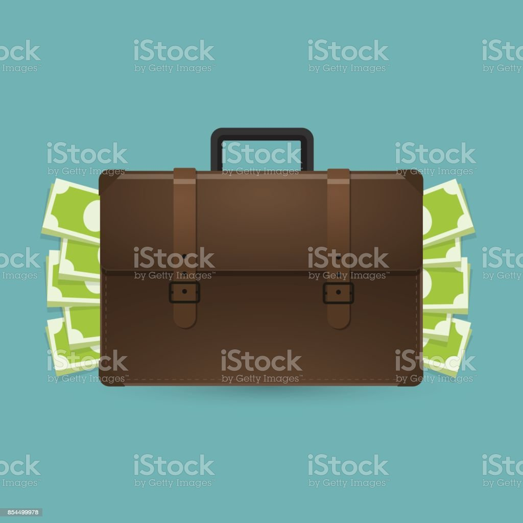 Browe briefcase with money. Vector illustration. vector art illustration