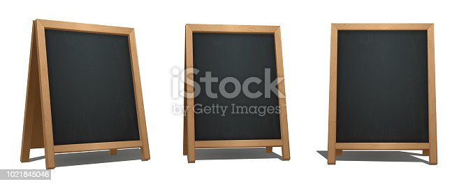 istock Brown A-Frame Chalkboard from different angles. Bar signage for drinks, cocktails, dish of the day. Realistic street menu sign. 1021845046