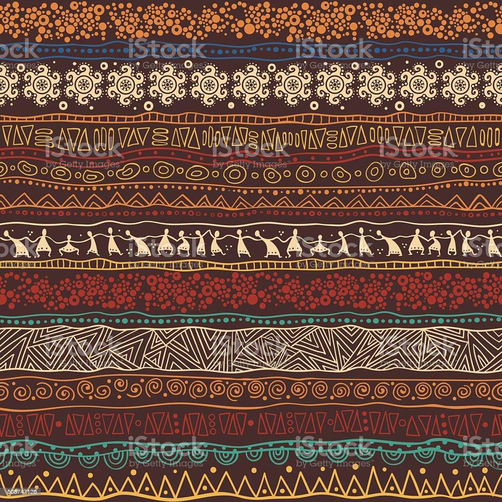 Marrom com padrão de motivos africanos - ilustração de arte em vetor