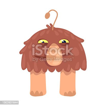 istock Brown alien flat cartoon vector illustration. Fantastic animal, unearthly creature. Ready to use 2d character template for commercial, animation, printing design. Isolated comic hero 1302631644