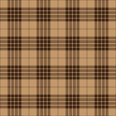 Brown and beige Scottish tartan plaid seamless textile pattern background.