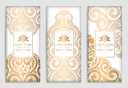 Brown and green vintage packaging design of chocolate bars. Vector luxury template with ornament elements. Can be used for background and wallpaper. Great for food and drink package types.