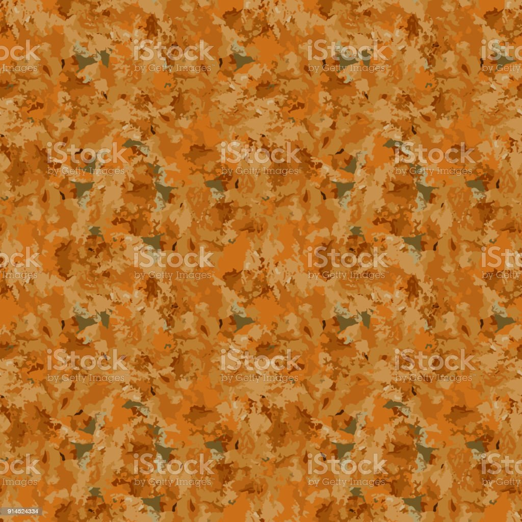 Brown and orange camouflage is a seamless pattern with spots and cracks on brown background vector art illustration