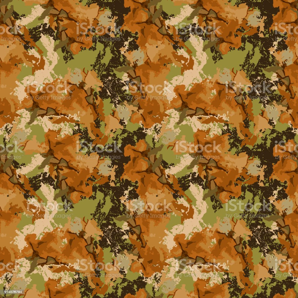 Brown and orange camouflage is a seamless pattern with spots and cracks on green background vector art illustration