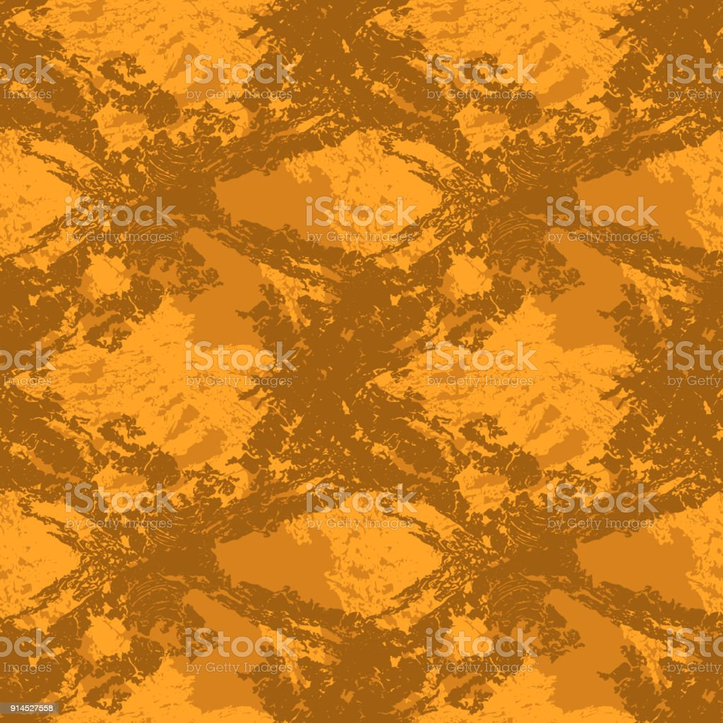 Brown and orange camouflage is a seamless pattern with spots and cracks with imitation of a grid vector art illustration