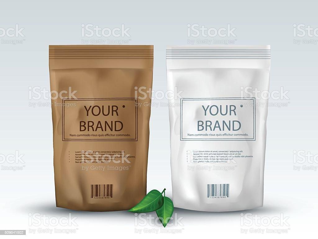 Brown and White Blank Foil Food Or Drink ,Bag Packaging vector art illustration