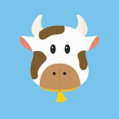 Brown and White Cow Vector