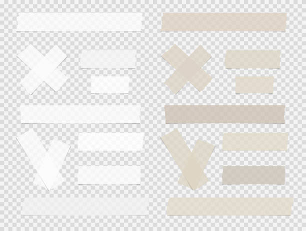 Brown and white different size adhesive, sticky, scotch tape, paper pieces on squared background. vector art illustration