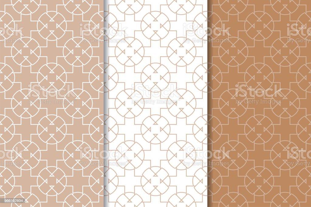 Bruine en witte geometrische ornamenten. Set van naadloze patronen - Royalty-free Abstract vectorkunst