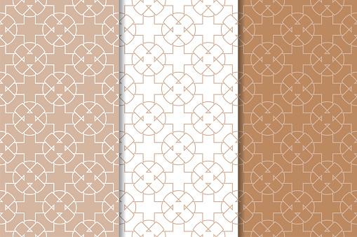 Brown And White Geometric Ornaments Set Of Seamless Patterns - Arte vetorial de stock e mais imagens de Abstrato