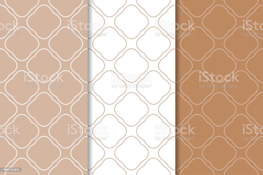 Brun och vit uppsättning geometriska sömlösa mönster - Royaltyfri Abstrakt vektorgrafik
