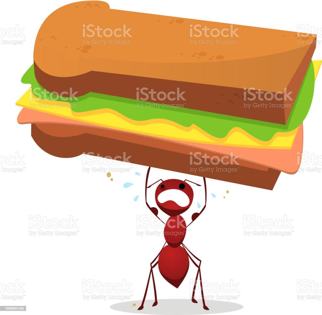 Brown Ant lifting an enourmous weight sandwich royalty-free stock vector art