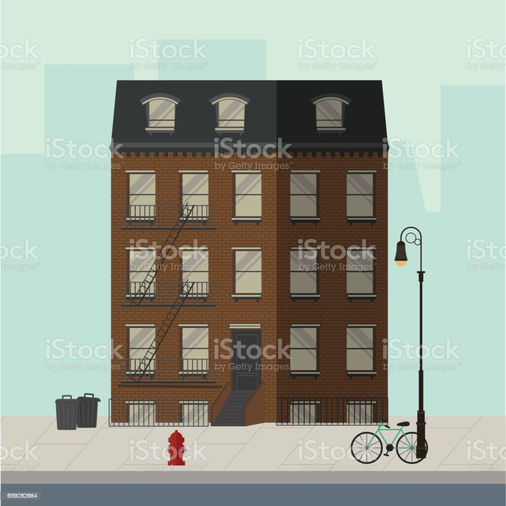 Brown Apartment Building With Stairs To The Main Door Flat Vector  Illustration Royalty