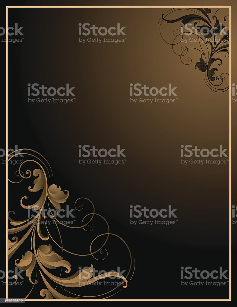 Brown Arabesque Frame royalty-free stock vector art