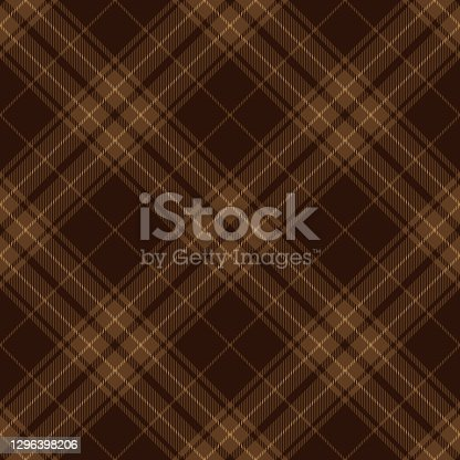 istock Brown Argyle Scottish Tartan Plaid Textile Pattern 1296398206