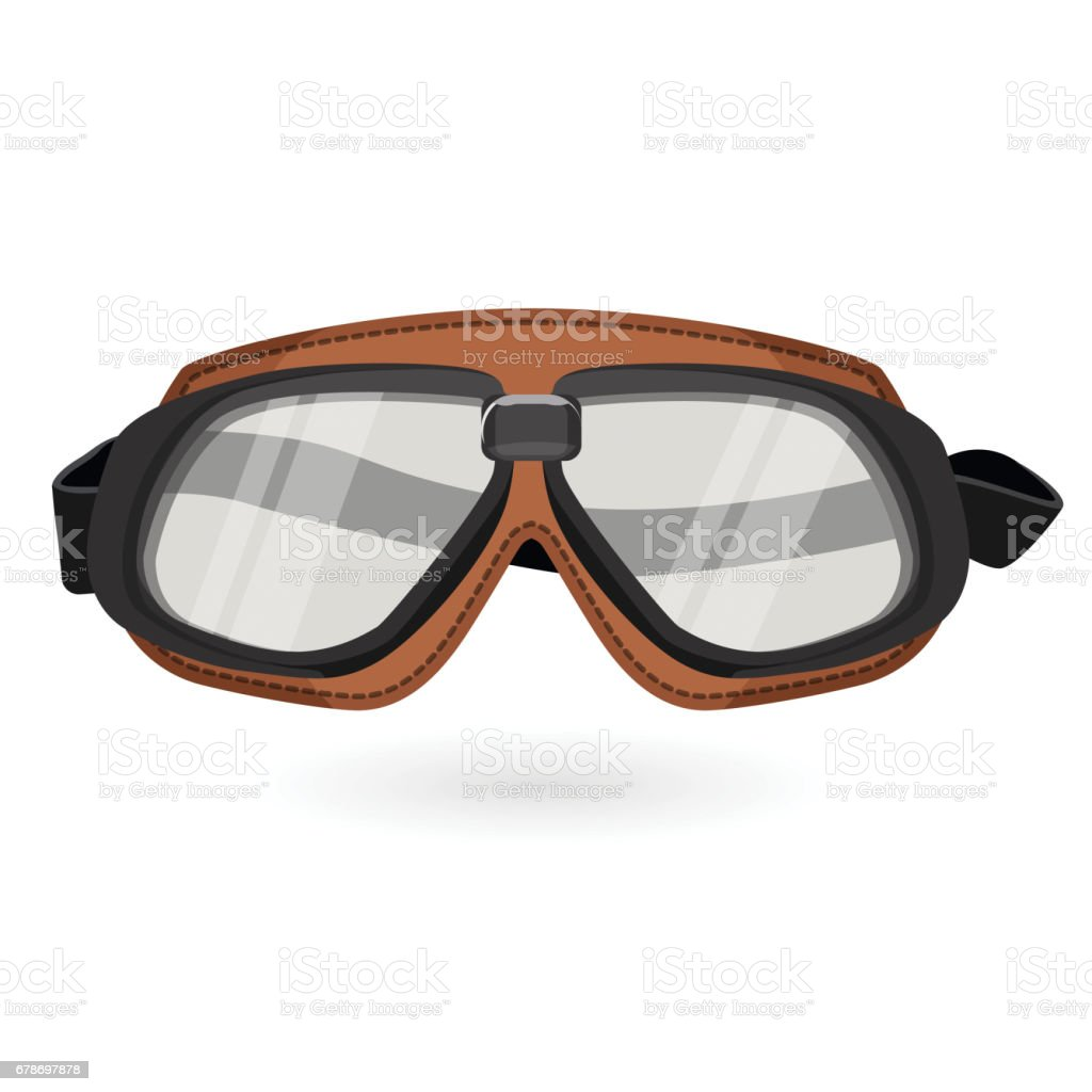 Brown aviation goggles in vintage style isolated on white vector art illustration