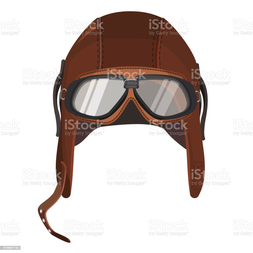 Brown aviator hat with goggles isolated on white vector art illustration