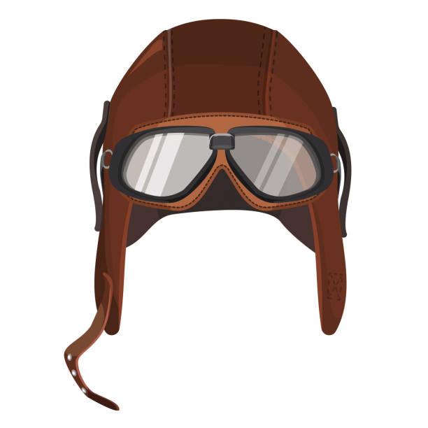 braune cabriohaube mit brille isoliert auf weiss - lederverarbeitung stock-grafiken, -clipart, -cartoons und -symbole